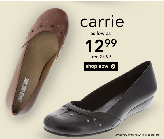 Shop the women's Carrie Jr. Wedge!  Take a trip to the Lower East Side with this cute wedge!  Was $24.99, now $12.99.