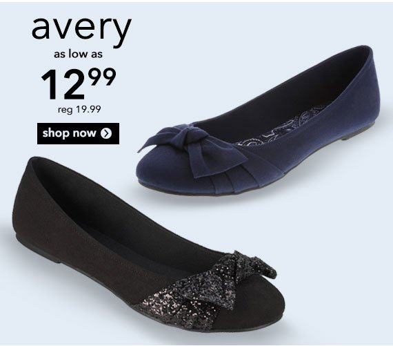 Shop the women's Avery Bow Flat!  This simply casual ballet flat is a must-have wardrobe staple! Was $19.99, now $12.99.