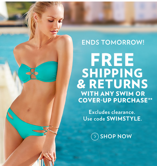 Ends Tomorrow! Free Shipping & Returns with Any Swim Purchase