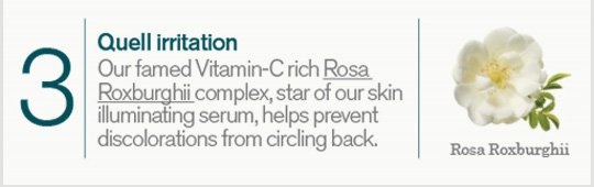 3 Quell irritation Our famed Vitamin C Rosa Roxburghjii complex star or our skin illumintatin serum helps prevent discolorations from circling back