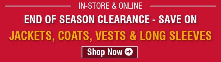 End Of Season Clearance - Jackets, Coats, Vests & Long Sleeves