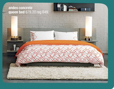 andes concrete queen bed 679.20 reg 849.