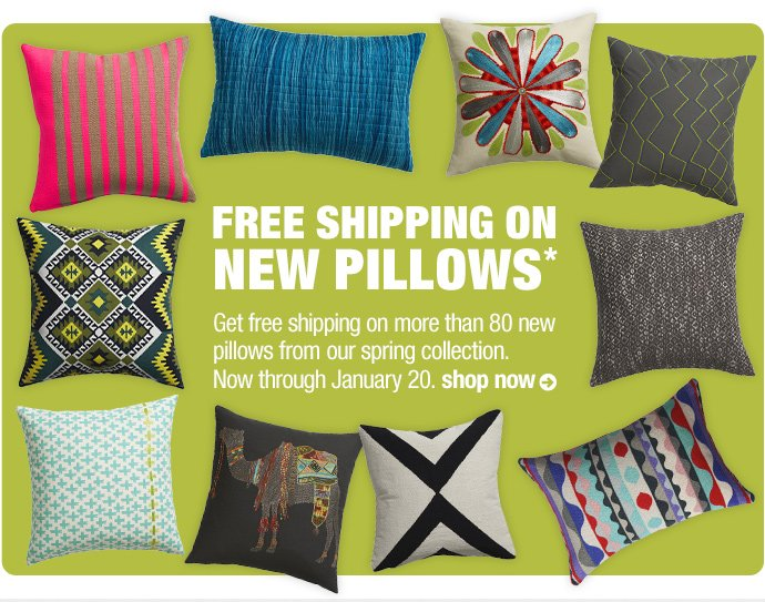 free shipping on new pillows*