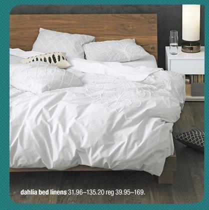dahlia bed linens 31.96-135.20 reg  39.95-169.
