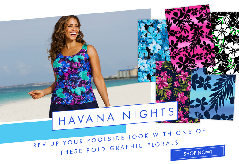 Rev up your poolside look with one of these bold graphics florals - Havana Nights
