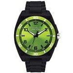 Caravelle 45A113 Mens New York Green Dial Black Plastic Black Strap Watch