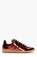 MAISON MARTIN MARGIELA Burgundy Metallic Replica Sneakers for men