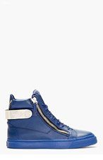 GIUSEPPE ZANOTTI Blue Leather Metal Accent High-Top Sneakers for men
