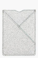 MAISON MARTIN MARGIELA Silver Glitter Leather Card Holder for men