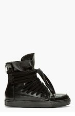 KRISVANASSCHE Black Leather Overlaced High-Top Sneakers for men