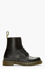 DR. MARTENS Black leather 1460 ORIGINALS 8-EYE BOOTs for men