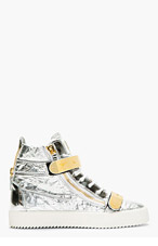 GIUSEPPE ZANOTTI Silver Textured Leather Metal Accent High-Top Sneakers for men