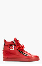 GIUSEPPE ZANOTTI Red Chain Detail High-Top Sneakers for men