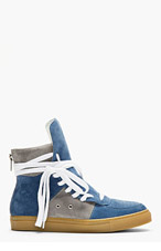 KRISVANASSCHE Blue Suede Overlong Laces High-Top Sneakers for men