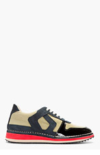 MAISON MARTIN MARGIELA Pale Gold Panelled Running Shoes for men