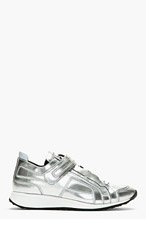 PIERRE HARDY Silver paneled reflective LOW TOP sneakers for men