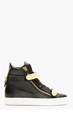 GIUSEPPE ZANOTTI Black Leather Metal Accent High-Top Sneakers for men