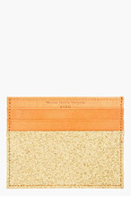 MAISON MARTIN MARGIELA Gold Glitter Leather Card Holder for men