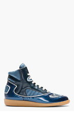 MAISON MARTIN MARGIELA Blue Leather Panelled High-Top Sneakers for men