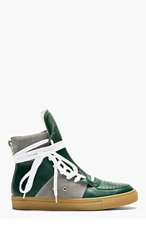 KRISVANASSCHE Green Leather Overlong Laces High-Top Sneakers for men