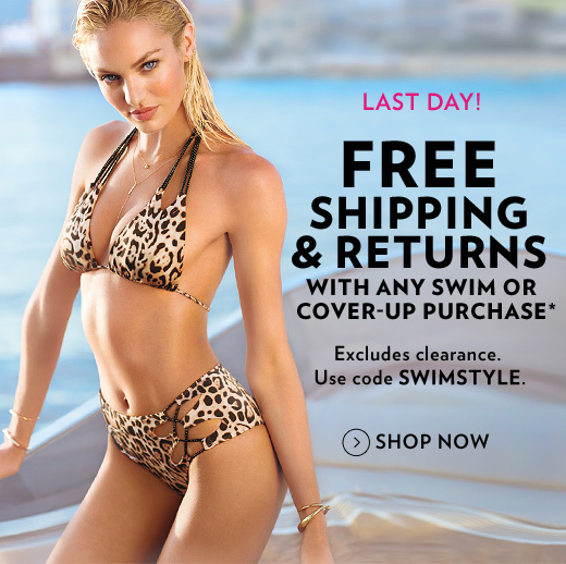Last Day! Free Shipping & Returns with Any Swim Purchase