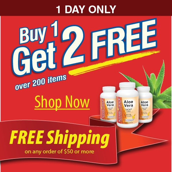 Buy 1 Get 2 FREE plus Get FREE shipping on orders of $50 or more
