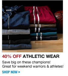 40 percent off athletic wear - save big on these champions! great for weekend warriors and athletes - click the link below