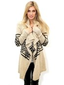 WEST COAST WARDROBE Markley Cardigan in Oatmeal/Black