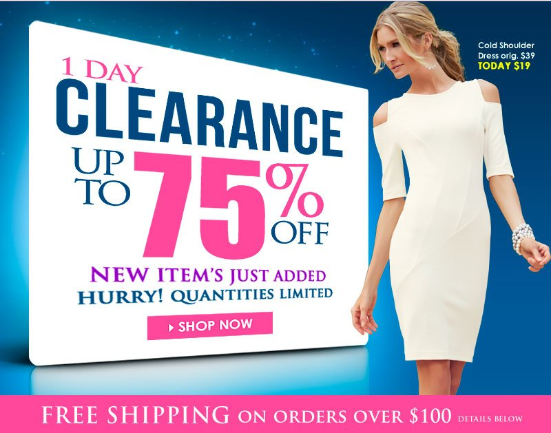 1-Day Clearance! Up to 75% OFF! Sunday Clearance Event! Hurry, Quantities, sizes and colors are limited! SHOP NOW!