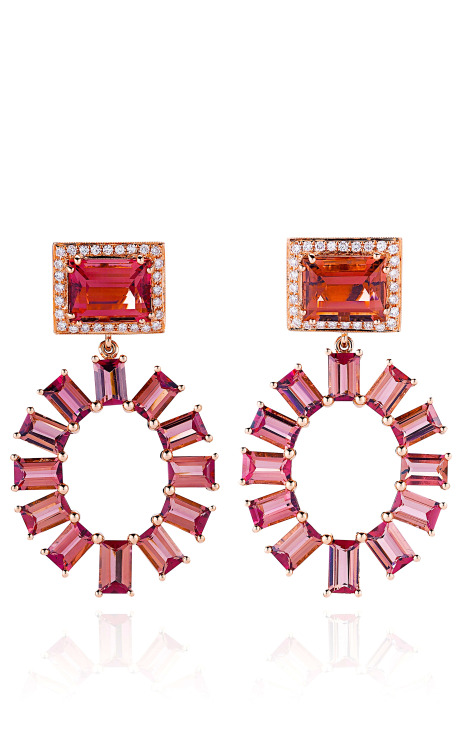 Tourmaline And Diamond Earrings In Rose Gold