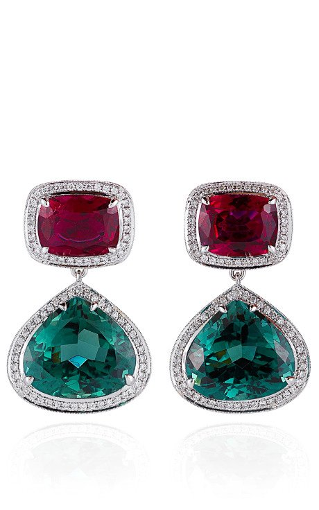 Rubelite And Green Tourmaline Earrings In White Gold