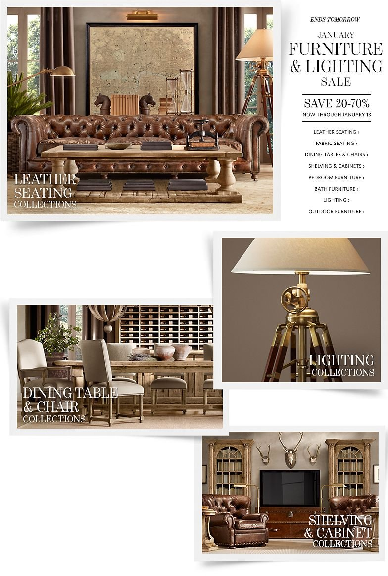 Ends Tomorrow - January Furniture and Lighting Sale - Save 20-70% Through January 13