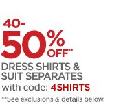 40-50% OFF** DRESS SHIRTS & SUIT SEPERATES  with code: 4SHIRTS                                   **See exclusions & details below.