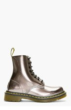 DR. MARTENS Pewter Patent Leather Pascal 8-Eye Boots for women