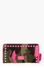 VALENTINO Pink & Green Camo Studded Continental Wallet for women