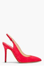 BRIAN ATWOOD Coral Red Suede Slingback Liu Heels for women