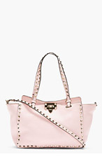 VALENTINO Pale Pink Leather Rockstud Small Trapeze Tote for women