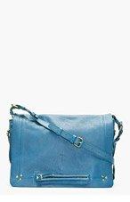 JEROME DREYFUSS Blue Leather Albert Messenger Bag for women