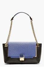 LANVIN Blue & Black Leather Shoulder Bag for women