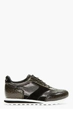 MARC BY MARC JACOBS Black Distressed Leather & Metallic Neoprene Cute Kicks Running Shoes for women