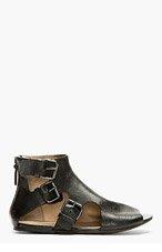 MARSÈLL Black Multi Buckle open Sandals for women