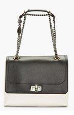 LANVIN Black & Ivory Leather Shoulder Bag for women