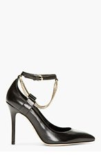BRIAN ATWOOD Black Leather Chain Detail Kaela Pumps for women