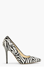 BRIAN ATWOOD Black & White Zebra Print Calf-Hair Cassandra Pumps for women