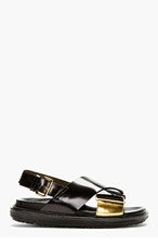 MARNI Black Leather Metallic Accent Sandals for women