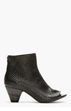 MARSÈLL Black Leather Basketwoven Ankle Boots for women