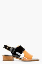 MARNI Black & Camel Patent Leather Sandals for women