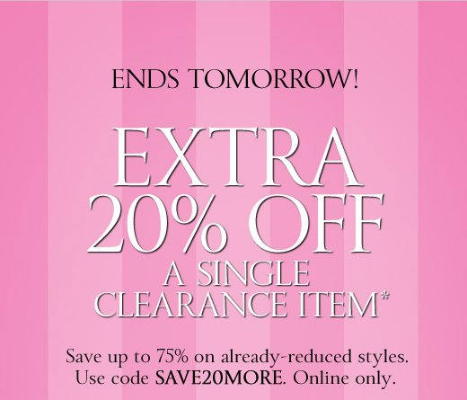 Extra 20% Off A Single Clearance Item