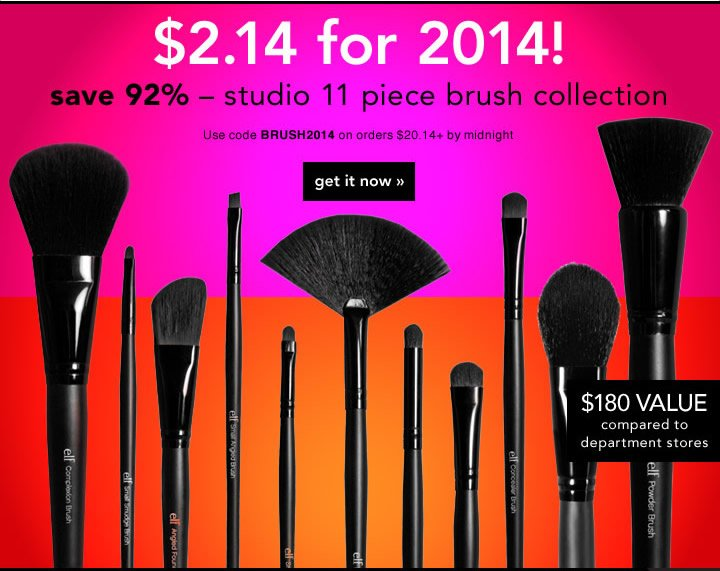 Use Code: BRUSH2014 on Orders $20.14 Plus by midnight Get It Now!