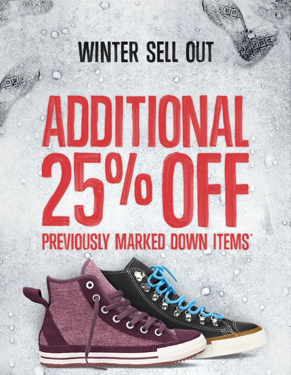 WINTER SELL OUT. ADDITIONAL 25% OFF